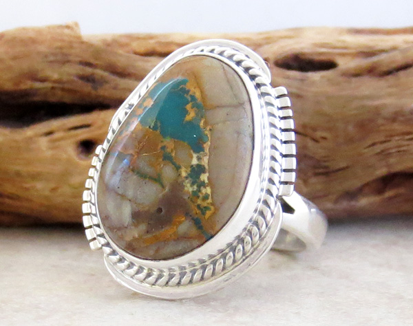 Image 2 of     Boulder Turquoise & Sterling Silver Ring Size 7 Navajo Made - 1253sn