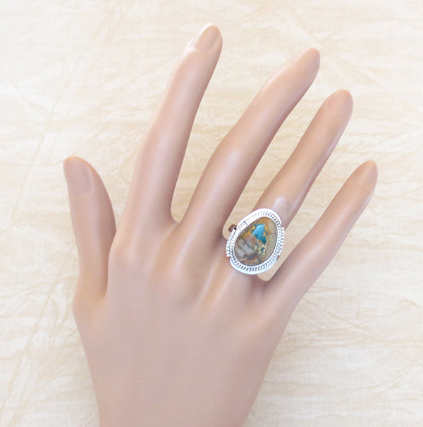 Image 4 of     Boulder Turquoise & Sterling Silver Ring Size 7 Navajo Made - 1253sn