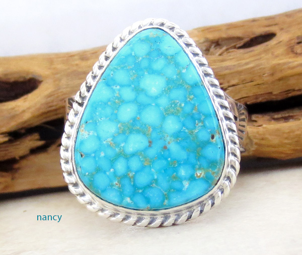 Kingman Turquoise & Sterling Silver Ring Size 10 Phillip Sanchez - 1242sn