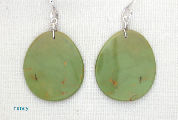 Green Turquoise Slab Earrings Kewa Ronald Chavez - 3487pl