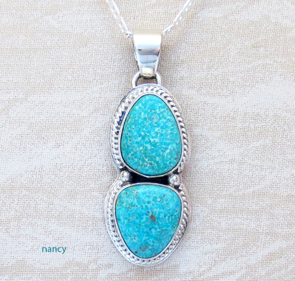 Turquoise Mountain Turquoise & Sterling Silver Pendant Sampson Jake - 1236sn