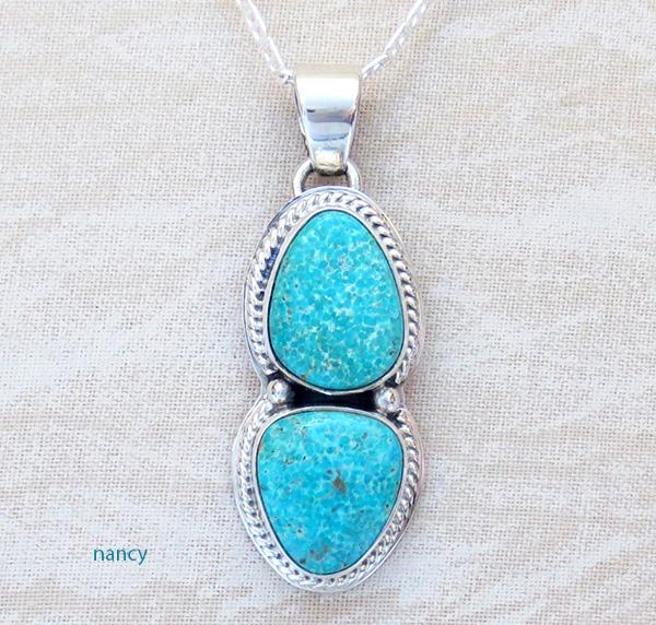 Turquoise Mountain Turquoise & Sterling Silver Pendant Sampson Jake - 1236sn