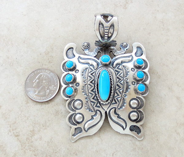 Image 1 of   BIG Turquoise & Sterling Silver Butterfly Pendant Native American - 3489sn