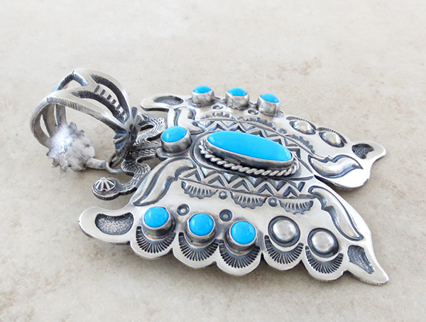 Image 2 of   BIG Turquoise & Sterling Silver Butterfly Pendant Native American - 3489sn