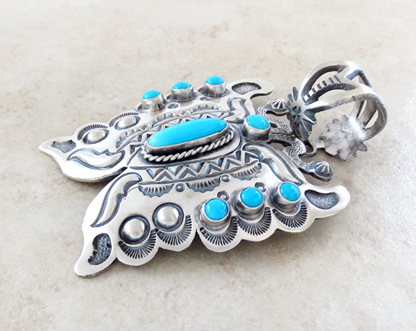 Image 3 of   BIG Turquoise & Sterling Silver Butterfly Pendant Native American - 3489sn