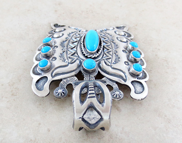 Image 4 of   BIG Turquoise & Sterling Silver Butterfly Pendant Native American - 3489sn