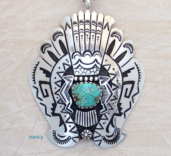 Big Sterling Silver & Turquoise Pendant Navajo Richard Singer - 3670rb