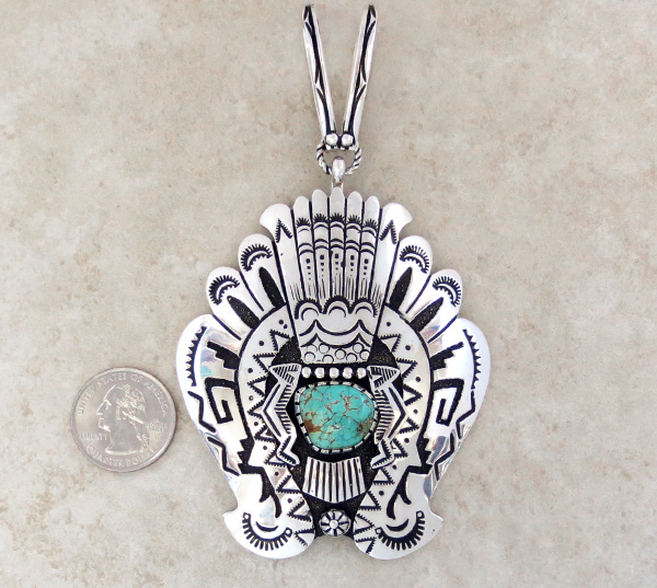 Image 1 of Big Sterling Silver & Turquoise Pendant Navajo Richard Singer - 3670rb