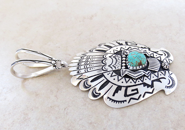 Image 2 of Big Sterling Silver & Turquoise Pendant Navajo Richard Singer - 3670rb