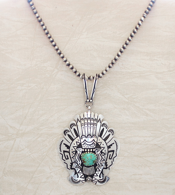 Image 6 of Big Sterling Silver & Turquoise Pendant Navajo Richard Singer - 3670rb