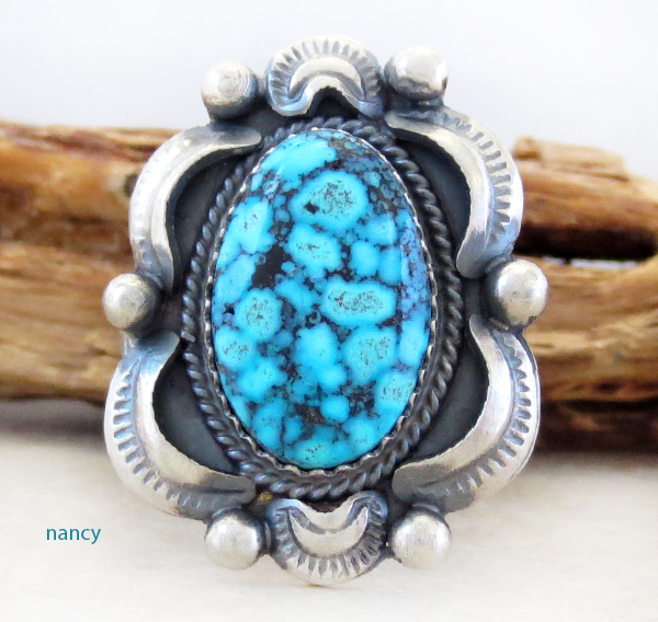 Image 0 of      Native American Turquoise & Sterling Silver Ring Size 10.5 - 3782dt