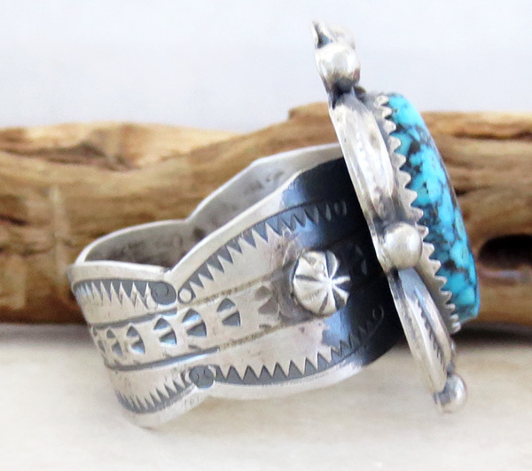 Image 1 of      Native American Jewelry Turquoise & Sterling Silver Ring Size 10.5 - 3782dt