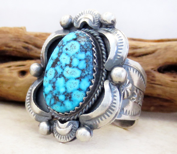 Image 2 of      Native American Jewelry Turquoise & Sterling Silver Ring Size 10.5 - 3782dt