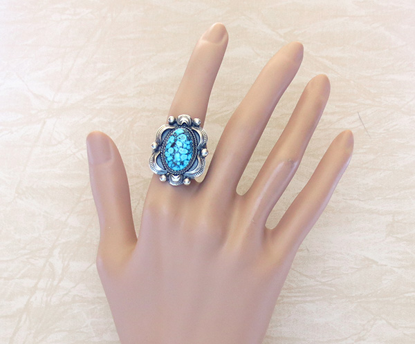 Image 4 of      Native American Jewelry Turquoise & Sterling Silver Ring Size 10.5 - 3782dt