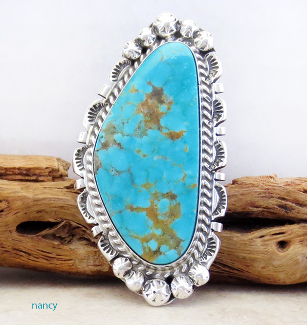 BIG #8 Mine Turquoise & Sterling Silver Ring Size 9 Navajo - 3348dt
