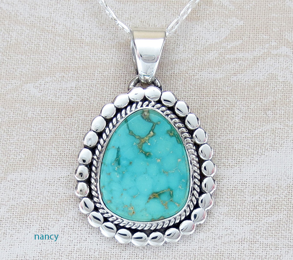 Kingman Turquoise & Sterling Silver Pendant Navajo Made - 1978sn