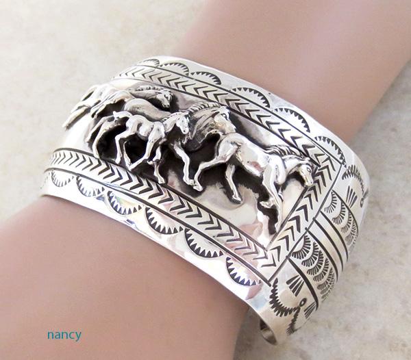 Image 0 of Carson Blackgoat Navajo Sterling Silver Running Horse Bracelet - 1038rb