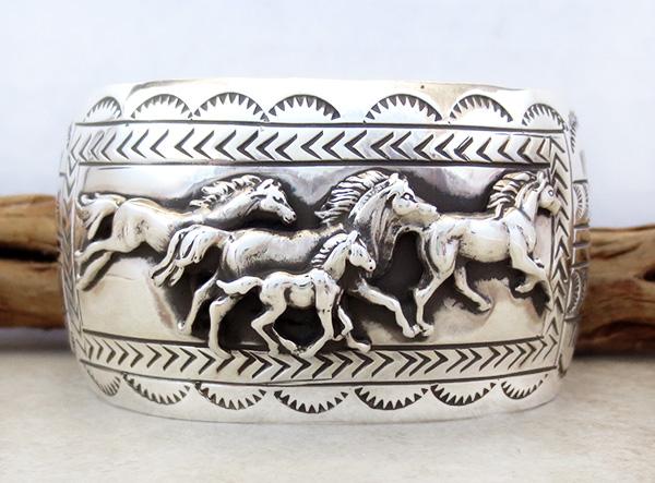Image 1 of Carson Blackgoat Navajo Sterling Silver Running Horse Bracelet - 1038rb
