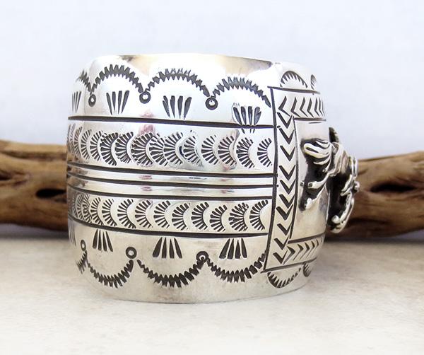 Image 2 of Carson Blackgoat Navajo Sterling Silver Running Horse Bracelet - 1038rb