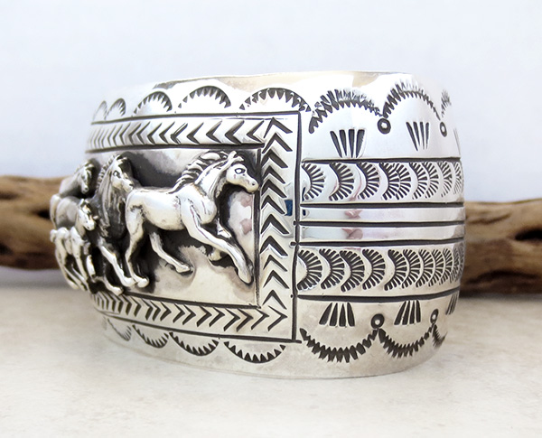 Image 3 of Carson Blackgoat Navajo Sterling Silver Running Horse Bracelet - 1038rb