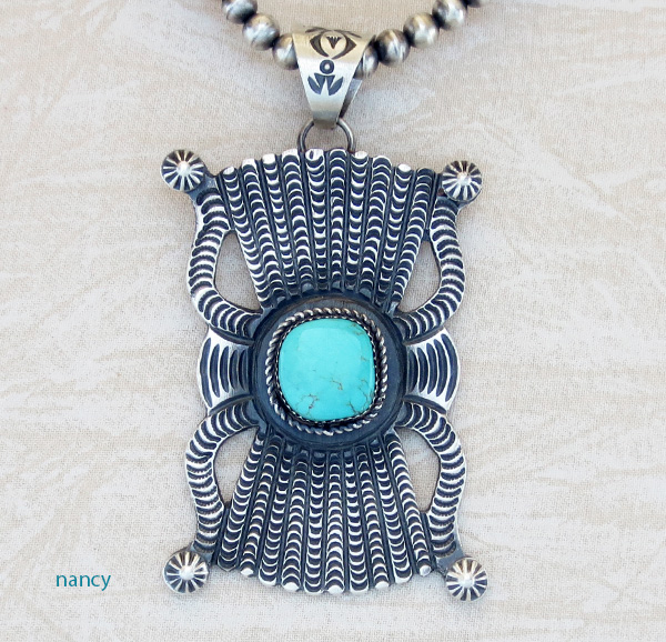 BIG Stamped Old Style Turquoise Pendant Kevin Billah Navajo - 1109dt