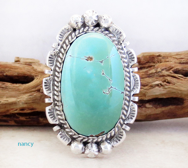 Large Royston Turquoise & Sterling Silver Ring Size 7 A. Largo - 1201dt