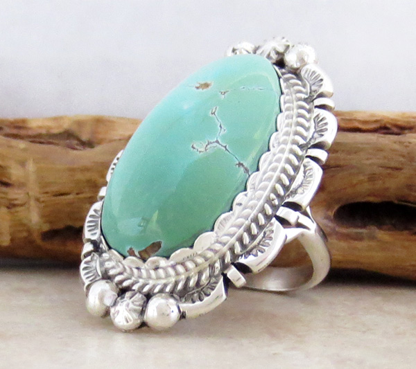 Image 2 of    Native American Jewelry Turquoise & Sterling Silver Ring Sz 7  - 1201dt