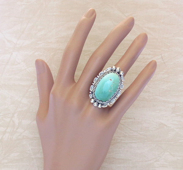 Image 4 of    Native American Jewelry Turquoise & Sterling Silver Ring Sz 7  - 1201dt