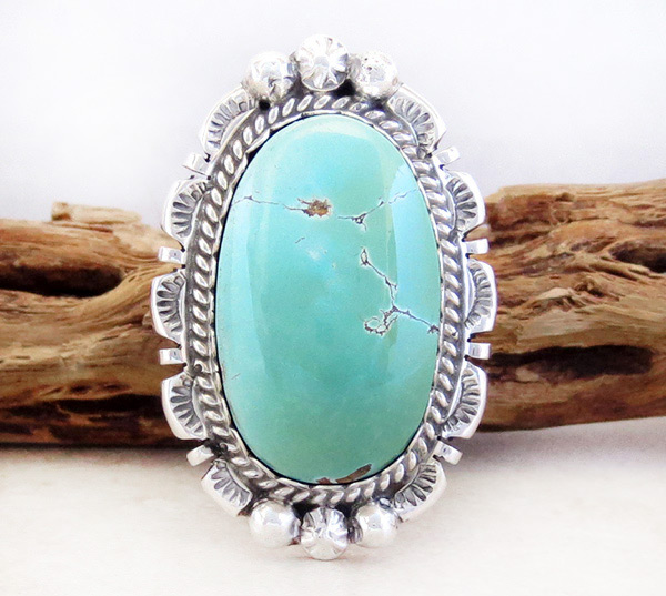 Native American Jewelry Turquoise & Sterling Silver Ring Sz 7  - 1201dt