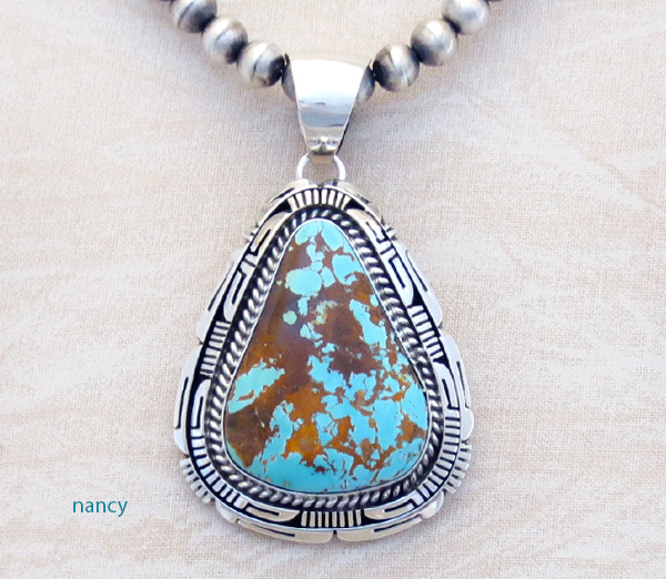 Number 8 Mine Turquoise & Sterling Silver Pendant - 1986dt