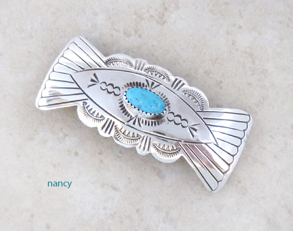Handcrafted Sterling Silver Turquoise Barrette Native American - 1461rb