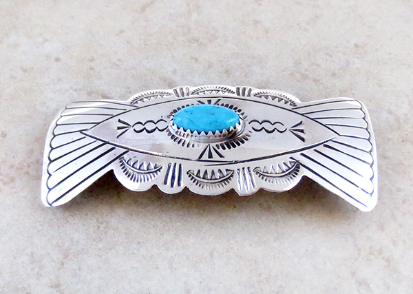 Image 1 of  Handcrafted Sterling Silver Turquoise Barrette Native American - 1461rb