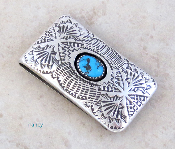 Stamped Sterling Silver & Turquoise Money Clip Shirley Skeets - 1123rb