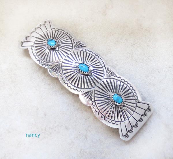 Large Sterling Silver & Turquoise Barrette Arlene Soce Navajo - 1204rb