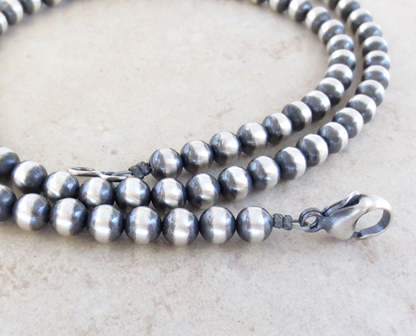 Image 1 of  Sterling Silver Bead Desert Pearl Necklace 24