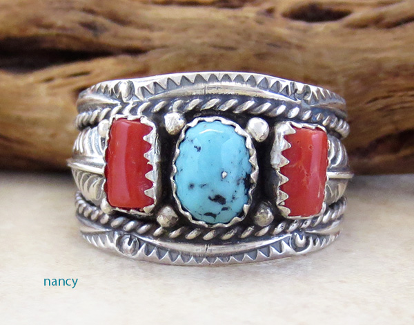 Image 0 of  Classic Sterling Silver & Turquoise Coral Ring Size 10.75 Betty Begaye - 3904rb
