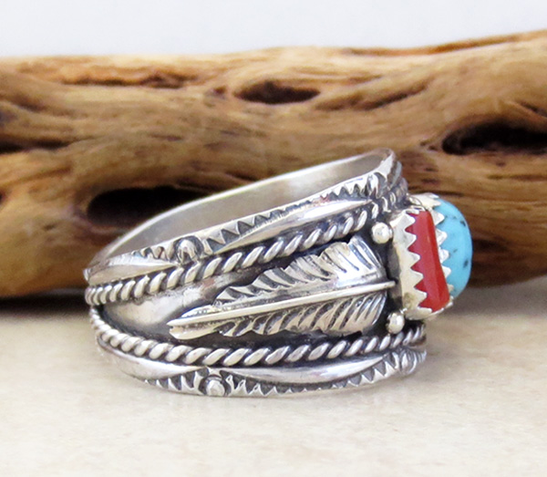 Image 1 of  Classic Sterling Silver & Turquoise Coral Ring Size 10.75 Betty Begaye - 3904rb