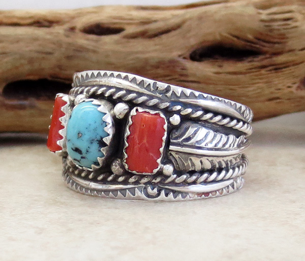 Image 2 of  Classic Sterling Silver & Turquoise Coral Ring Size 10.75 Betty Begaye - 3904rb