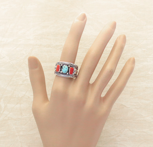 Image 4 of  Classic Sterling Silver & Turquoise Coral Ring Size 10.75 Betty Begaye - 3904rb