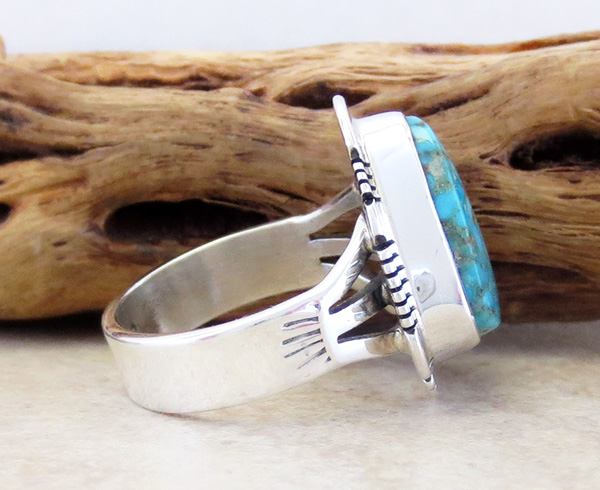 Image 1 of        Turquoise & Sterling Silver Ring Size 6 Phillip Sanchez - 3902sn