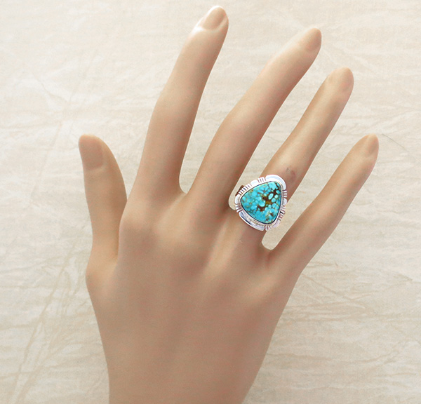 Image 4 of    Turquoise & Sterling Silver Ring Size 6 Phillip Sanchez - 3902sn