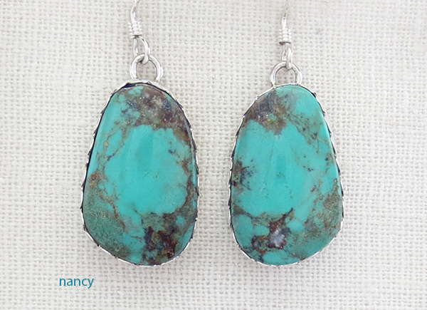 Turquoise & Sterling Silver Earrings Navajo Renell Perry - 1037dt