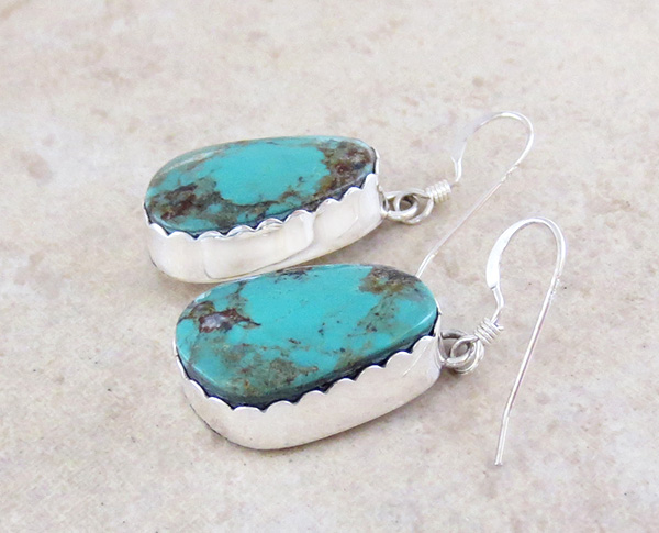 Image 1 of     Turquoise & Sterling Silver Earrings Navajo Renell Perry - 1037dt