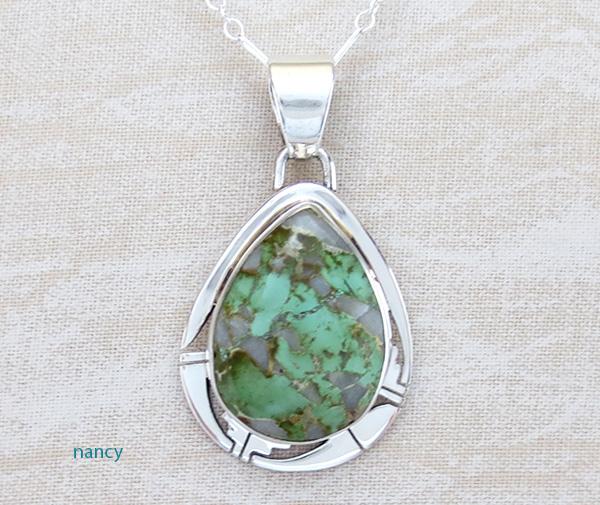 Green Boulder Turquoise & Sterling Silver Pendant Philip Sanchez  - 3875sn