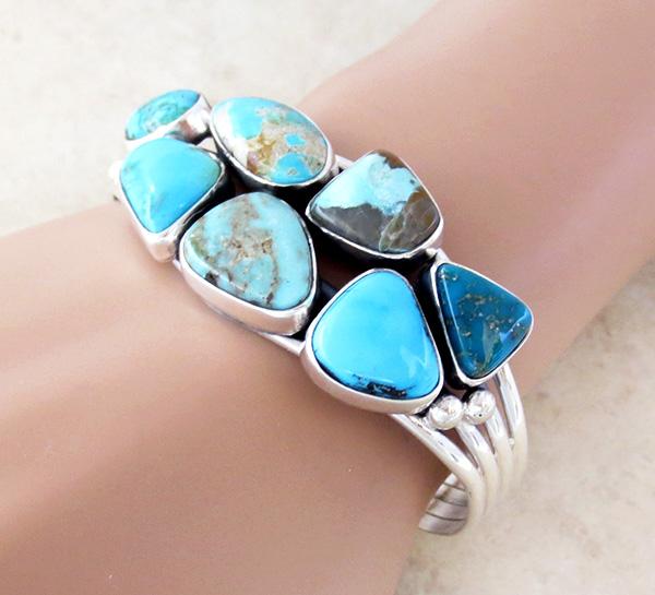 Image 1 of Multi Stone Nevada Turquoise Bracelet Navajo Made E Bahe - 1124sn