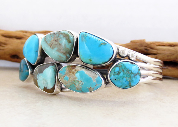 Image 3 of Multi Stone Nevada Turquoise Bracelet Navajo Made E Bahe - 1124sn