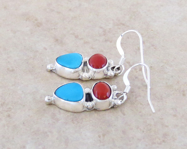Image 1 of  Small Turquoise & Coral Sterling Silver Earrings Navajo - 3907rb