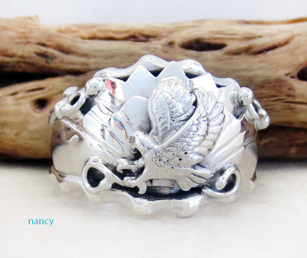 Sterling Silver Eagle Band Ring Size 13.25 Navajo Made -3671rb