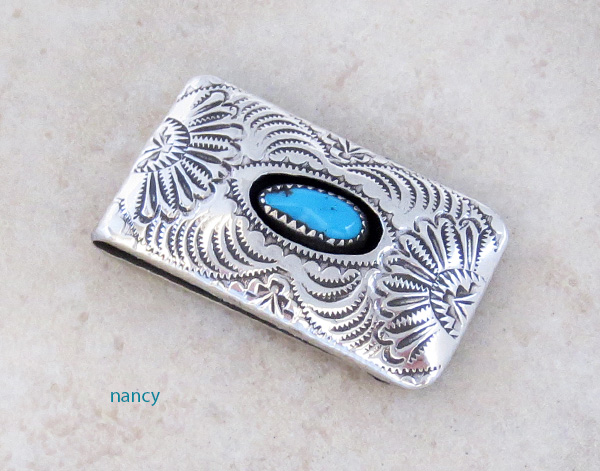 Stamped Sterling Silver & Turquoise Money Clip Shirley Skeets - 3579rb