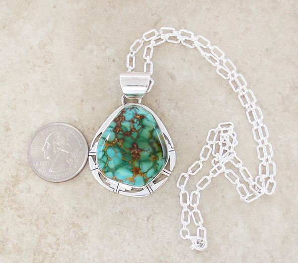 Image 1 of Large Turquoise & Sterling Silver Pendant Philp Sanchez - 3908sn